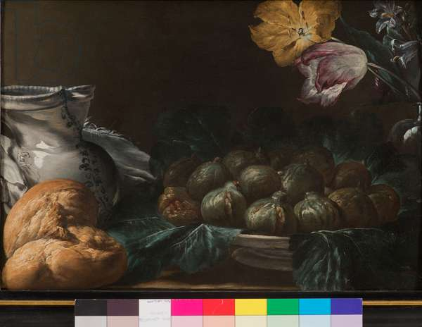 Still life with plate of figs, jug, flowers and bread, 1740-50 (oil on board)