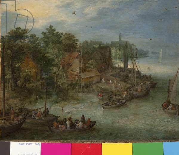 River Landscape with Landing, 1603 (Oil on Copper)
