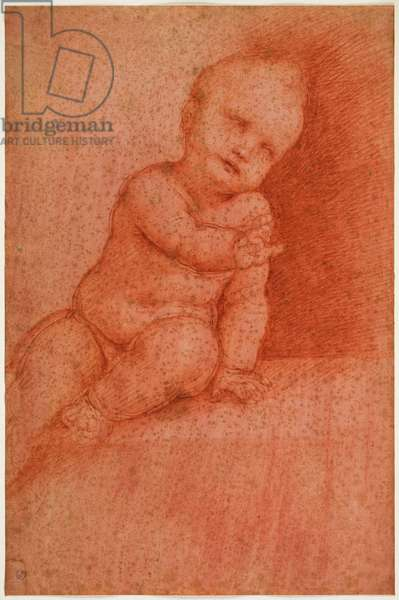 Study of putto (Jesus the Blessing Child), early 16th century (blood on red prepared paper)