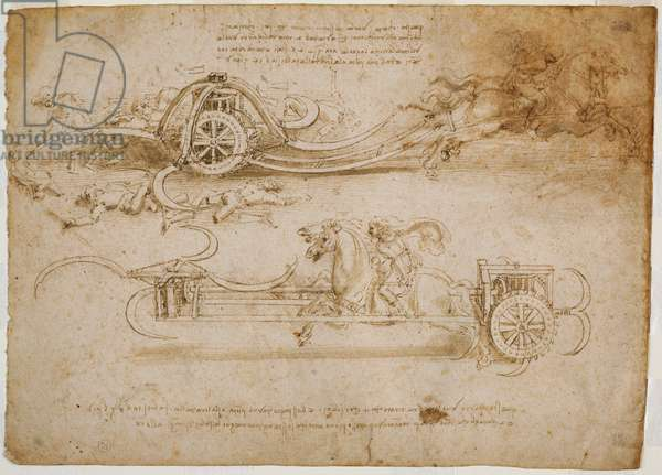 Studies of assault tanks with scythes, c. 1485 (pen and brown ink with traces of metallic tip on paper)