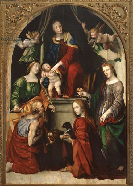 Madonna and Child and Angels among Saints Jerome, Catherine of Alexandria, Lucy and John the Evangelist, c.1513 (oil on panel)