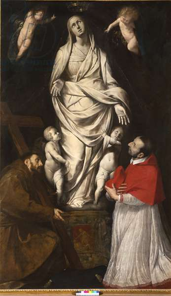Saint Francis and Blessed Charles Borromeo in prayer in front of the statue of Our Lady at San Celso in Milan, c.1610 (oil on canvas)