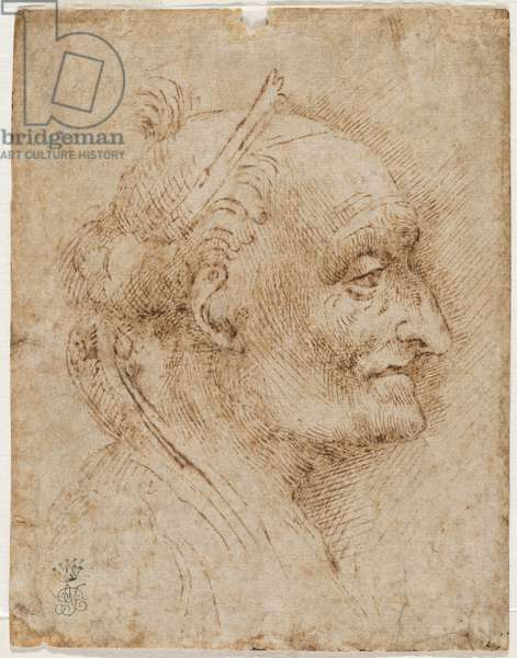 Old vault head on the right, 16th century (metallic tip, charcoal, pen and ink)