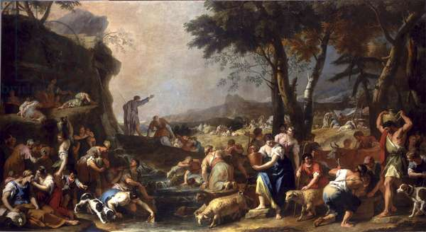 Moses makes water flow from the rock, 1725-26 (oil on canvas)
