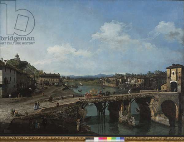 View of the ancient bridge over the Po in Turin, 1745 (oil on canvas)