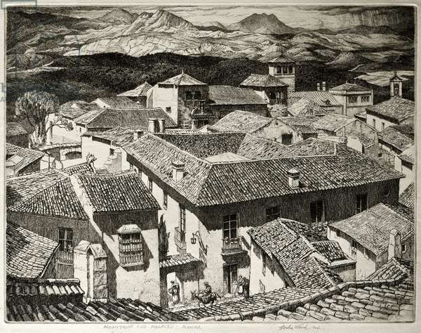 Mountains and Palaces, Ronda, Spain (etching)