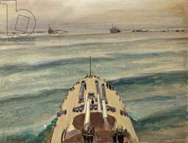 HMS Malaya leaving a protected anchorage, 1944 (oil on canvas)