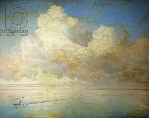 Seagulls on a Calm Sea (oil on canvas)