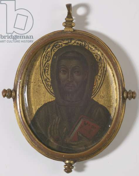 Reverse of pendant showing the Madonna (verre-eglomise)
