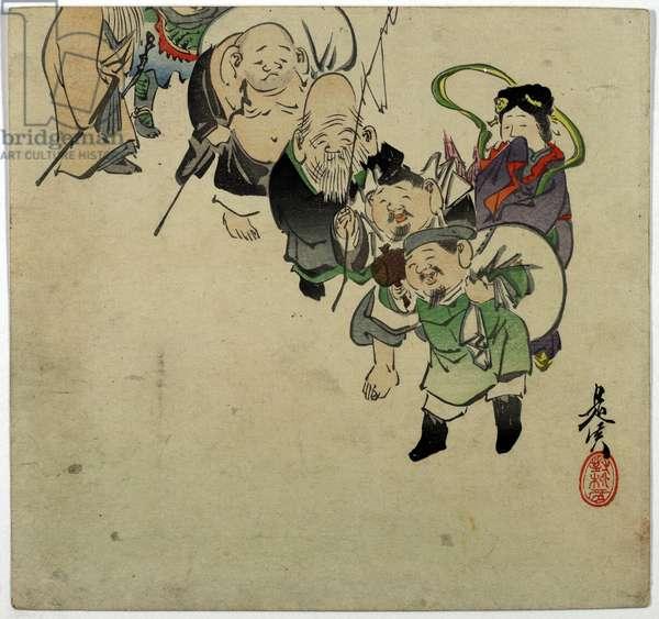 The Seven Gods of Good Fortune, c.1870-90 (colour woodblock print)