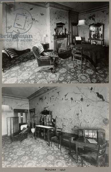 The sitting room in Room 160 at the Royal Bath Hotel, with murals by by John Thomas (1826-1902), 1920-30 (b/w photo)