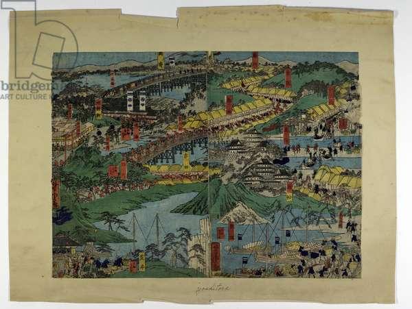 Town scene, c.1850-80 (colour woodblock print)