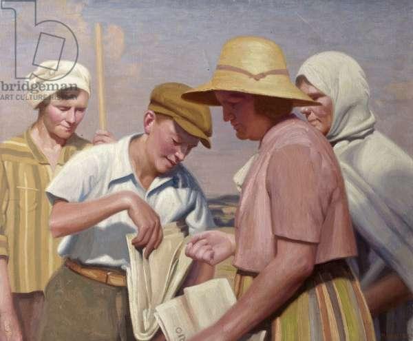 The Newsboy (oil on canvas)