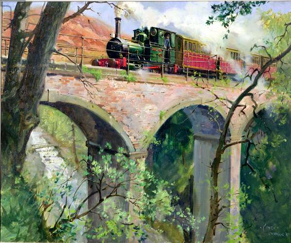 Tal-Y-Llyn railway on the Dolgoch viaduct, 1967 (oil on canvas)