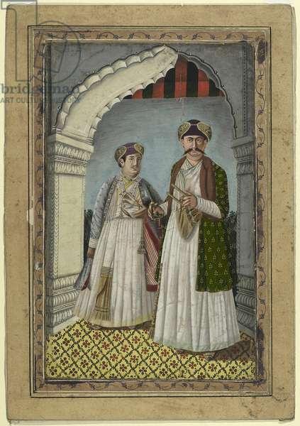Shuja-ud-daula, Nawab of Oudh, c.1800-50 (bodycolour on card)
