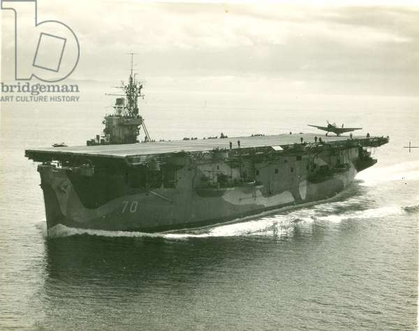H.M.S. Ravenger at sea, 1943-46 (b/w photo)