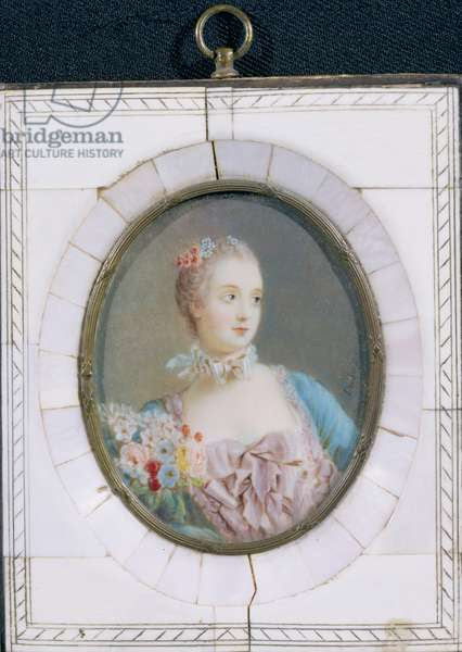 Portrait miniature of Madame de Pompadour in an ivory frame (enamel & ivory)