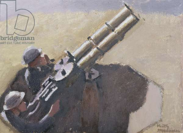 Study of R.A.F. Machine Gunners (oil on canvas)