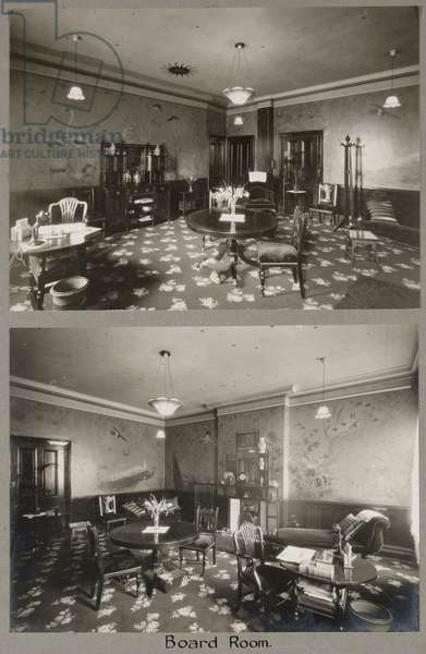 The Board Room at the Royal Bath Hotel, with murals by John Thomas (1826-1902), 1920-30 (b/w photo)