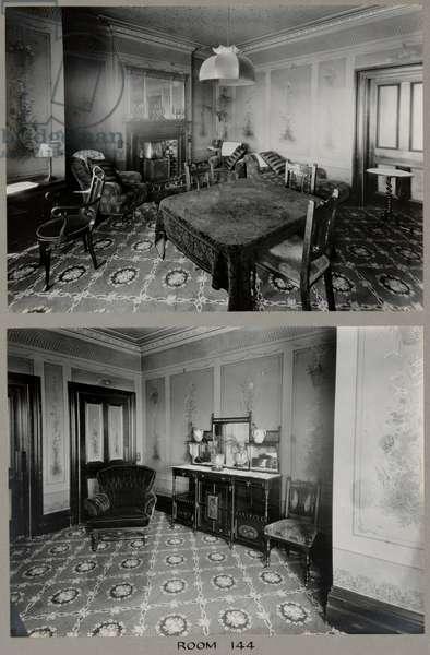 Room 144 at the Royal Bath Hotel, with murals by John Thomas (1826-1902), 1920-30 (b/w photo)