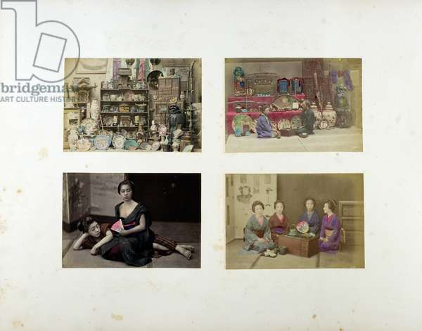 A: a collection of Japanese curiosities, B: a collection of Japanese curiosities with man and woman sitting, C: one lady sitting, one lying down, D: four ladies sitting, 19th century (hand-coloured b/w photo)