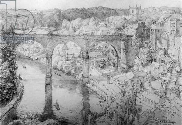 River Setting, Knaresborough (graphite on paper)