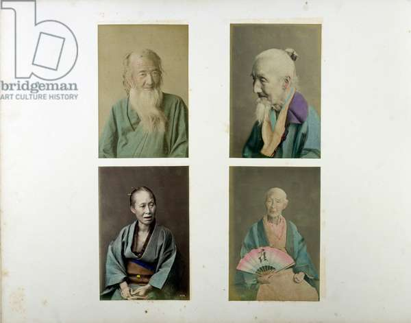 A: old man with beard, B: old man with beard and pony tail, C: old woman, D: old man with fan, 19th century (hand-coloured b/w photo)