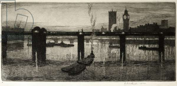 Westminster from the Tate Gallery, 1920 (etching)