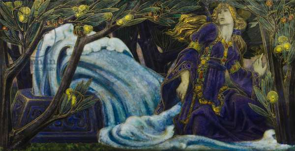 The Lady Shinain at the Well of Knowledge, 1905-15 (limoges enamel on copper)