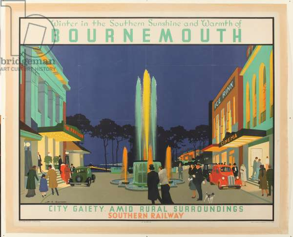 'Winter in the Southern Sunshine and Warmth of Bournemouth', poster advertising Southern Railway, 1939 (colour litho)