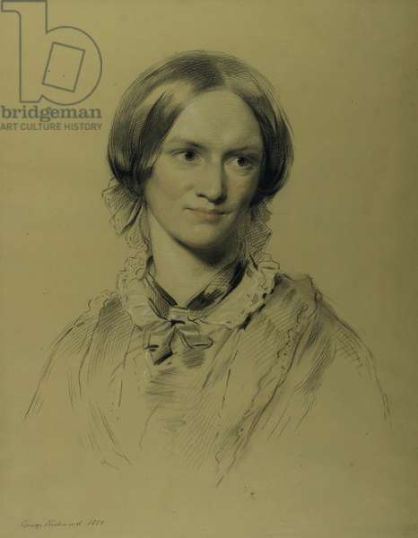 Charlotte Bronte, 1850 (charcoal & crayon on paper)