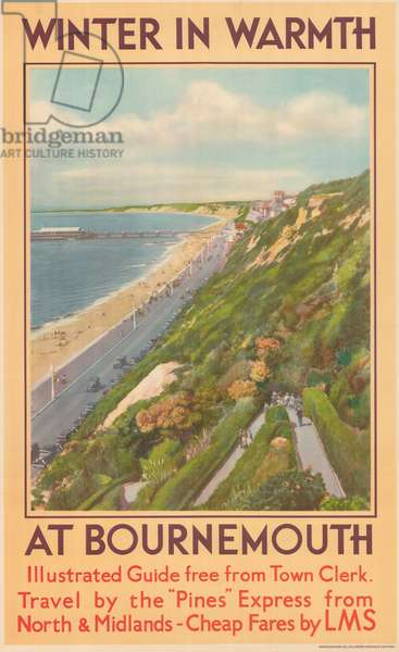 'Winter in Warmth at Bournemouth', poster advertising the London Midland and Scottish Railway (colour litho)