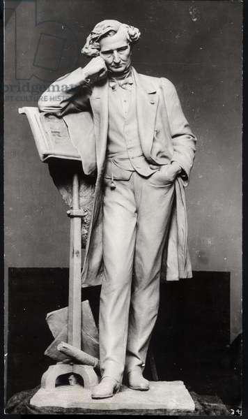 Portrait of Hector Berlioz (1803-69) (stone) (b/w photo)