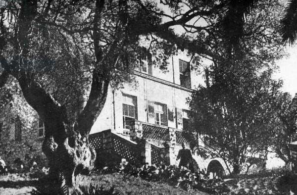 The House of Pierre Auguste Renoir (1841-1919) at Cagnes, Alpes-Maritimes (b&w photo)