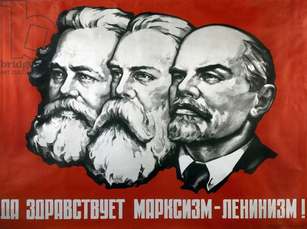 Poster depicting Karl Marx, Friedrich Engels and Lenin (colour litho)