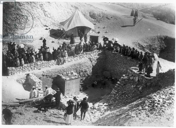 Discovery of the Tomb of Tutankhamun, Valley of the Kings, Thebes, Egypt, 1923 (b/w photo)
