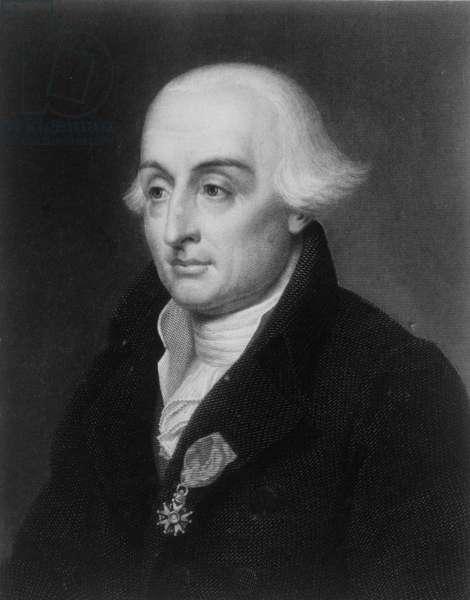 Portrait of Joseph-Louis, Comte Lagrange (1736-1813) French mathematician (engraving) (b/w photo)