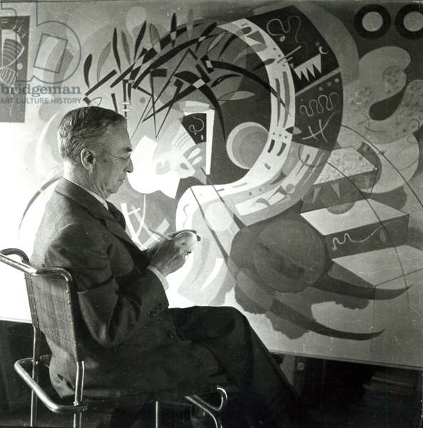 Portrait of Wassily Kandinsky (1866-1944) 1936 (b/w photo)