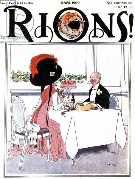 At the Restaurant, caricature on the front cover of the magazine 'Rions', March 1909 (litho)