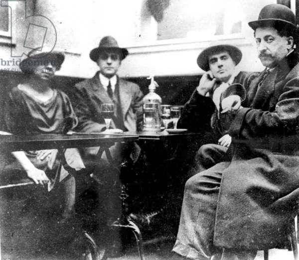 Amedeo Modigliani and Adolphe Basler at the Café du Dôme, Paris (b/w photo)