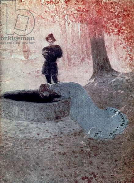 Pelléas and Mélisande at the fountain, illustration for Maurice Maeterlinck's play (colour litho)