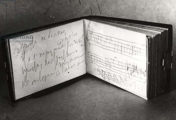 Tchaikovsky's book with notes for his opera 'The Queen of Spades', presented to the museum on the 35th anniversary of his death in 1928 (b&w photo)