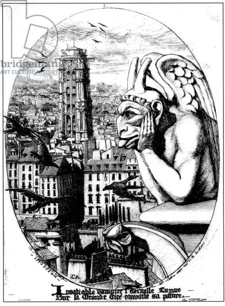 View of the Tour St. Jacques and a Gargoyle from Notre Dame, 1853 (engraving)