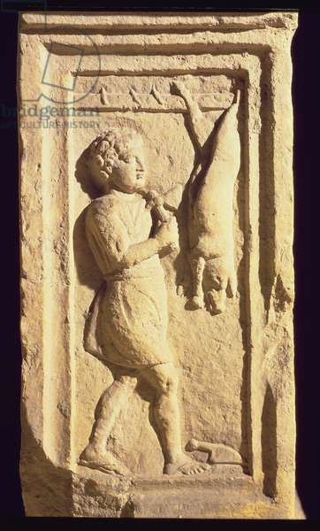 Slaughtering a pig, relief, detail from the stela of Cornelius Successus, Roman from Aquila (stone)