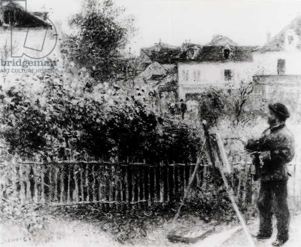 Claude Monet (1840-1926) Painting in his Garden at Argenteuil, 1873 (oil on canvas) (b&w photo)