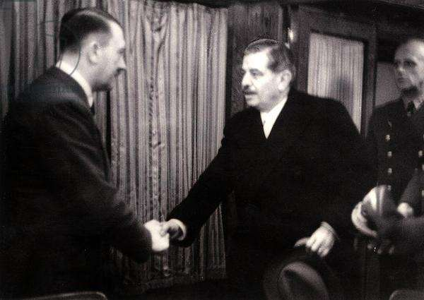 The Meeting at Montoire: Pierre Laval Shaking Hands with Adolf Hitler (1889-1645), with Joachim von Ribbentrop (1896-1946) in the Background, 24th October 1940 (b/w photo)
