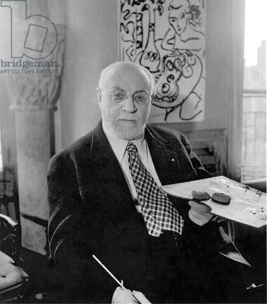 Portrait of Henri Matisse (1869-1954) 1947 (b/w photo)