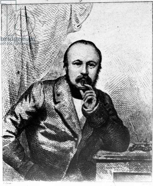 Portrait of Gerard de Nerval (1808-1855) c.1838 (engraving) (b/w photo)