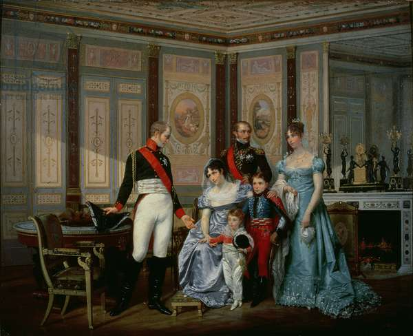 The Empress Josephine presenting her son, Eugène de Beauharnais, her daughter, Hortense and Hortense's two children, Napoléon-Louis and Louis-Napoléon (future Napoléon III)  to Tsar Alexander at Malmaison in May 1814, c.1864 (oil on canvas)  (see also 163823)
