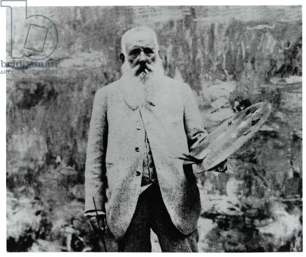 Claude Monet (1840-1926) in his Studio at Giverny (b&w photo)